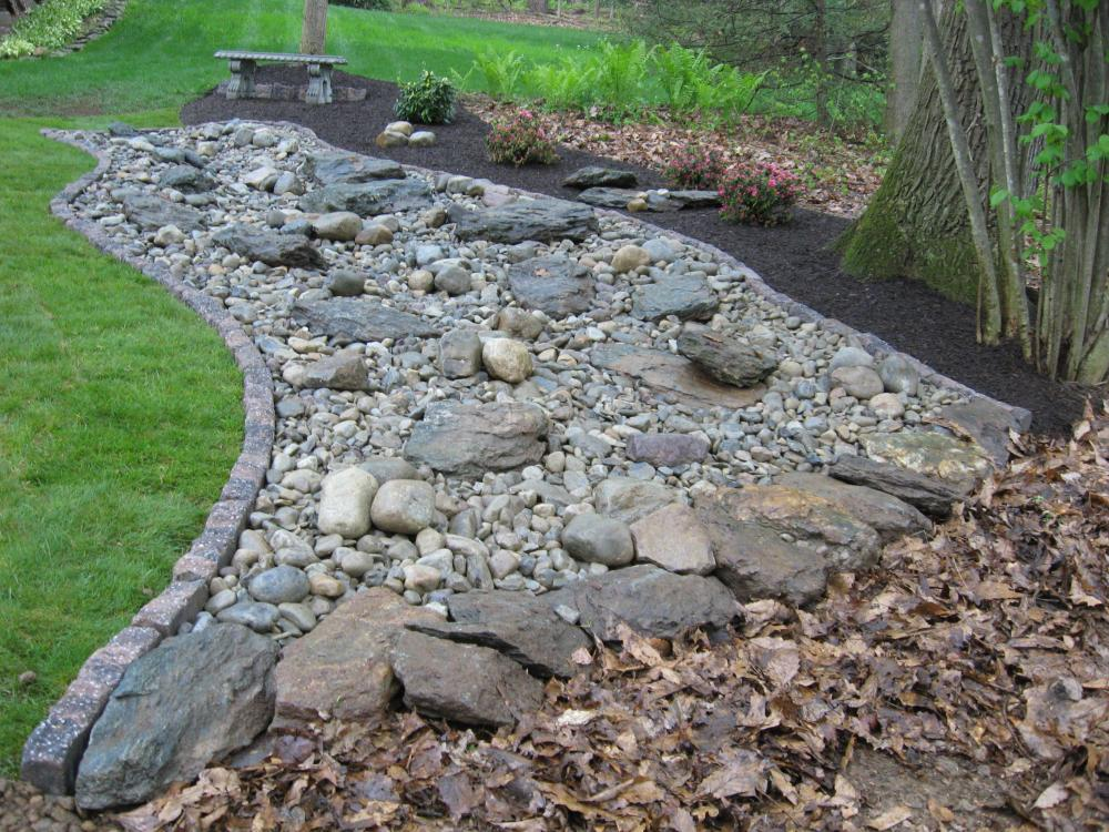 Decorative landscape design for River rock landscaping